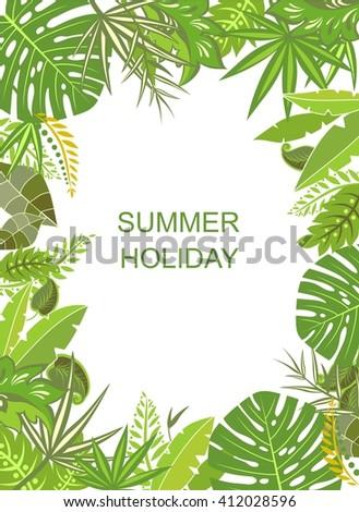 Tropical green vertical poster - stock vector