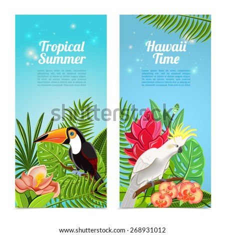 Tropical hawaii islands summer vacation 2 vertical banners set with exotic parrots birds abstract isolated vector illustration - stock vector