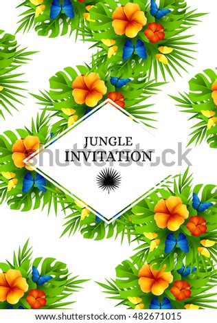 Tropical hawaiian background jungle palm tree stock photo photo tropical hawaiian background with jungle palm tree leaves exotic flowers and rainbow butterflies vertical stopboris Images