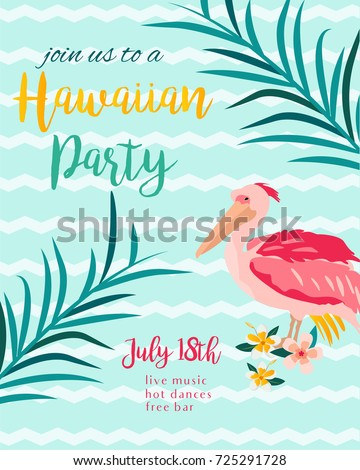 tropical hawaiian poster pelican party template stock vector 725291728 shutterstock. Black Bedroom Furniture Sets. Home Design Ideas