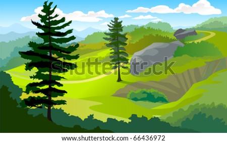 Tropical hillside landscape - stock vector