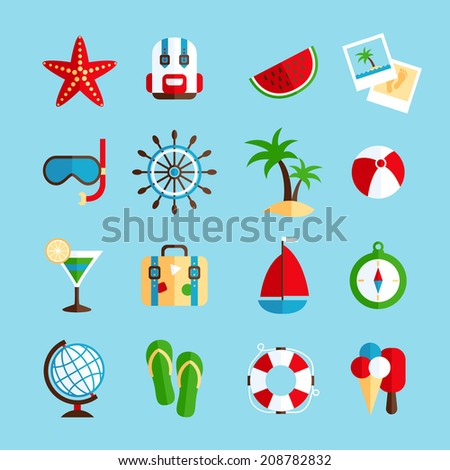 Tropical holiday vacation icons set with watermelon sailboat steering wheel and ice-cream flat isolated vector illustration - stock vector