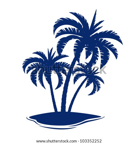 Tropical Island. Illustration on white background. - stock vector