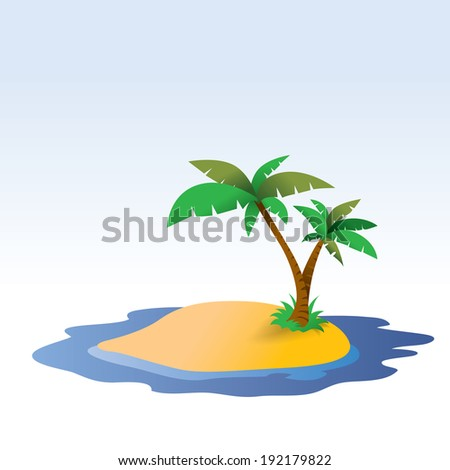 Tropical Island Illustration, summer sea side(Vector seal)  - stock vector