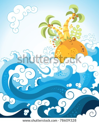 Tropical island in the ocean in decorative style. The vector art illustration, vacation theme - stock vector