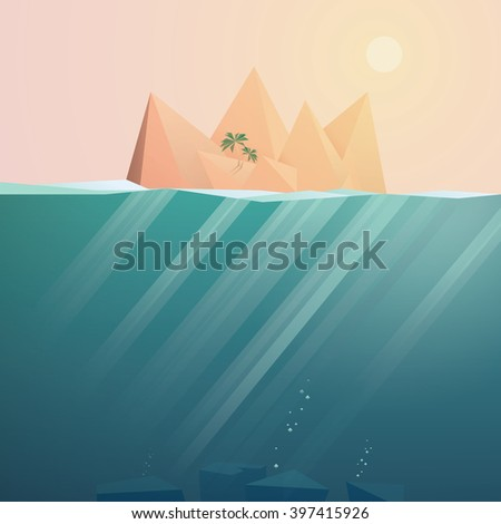 Tropical island landscape vector background. Summer holiday on tropical island advertising. Tropical island adventures. Summer ocean seascape with tropical island. Tropical island holiday resort.  - stock vector