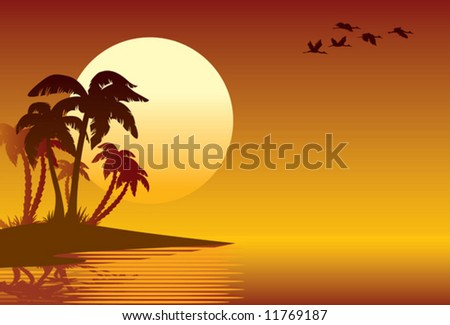 Tropical island, palm trees on a beach