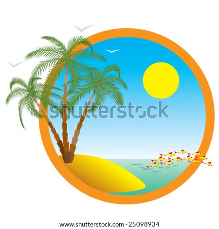 Tropical island. Palms and sea. Vector.