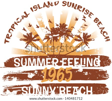 Tropical island - Vector artwork for t-shirt in custom colors - grunge effect in separate layer  - stock vector