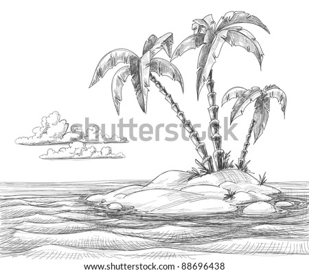 Tropical island vector sketch - stock vector