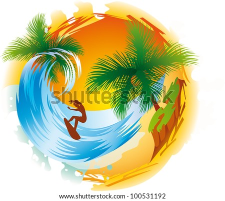 Tropical island wave and surfer - stock vector