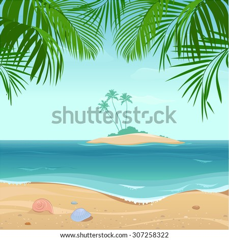 Tropical  island with palm trees - stock vector
