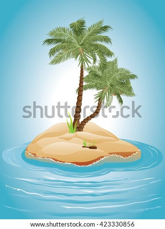 Tropical island with palm trees illustration and sea waves.
