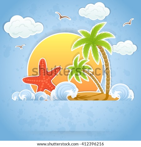Tropical island with palms in ocean and starfish, illustration. - stock vector