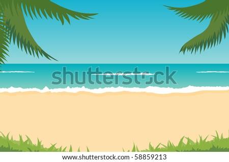 tropical landscape - beach, sea, waves, palms - stock vector