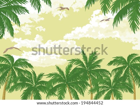 Tropical landscape, green palm trees, seagulls and sky with clouds. Vector - stock vector