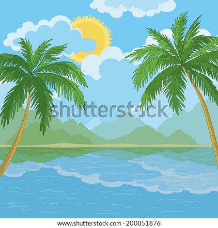 Tropical landscape, palm trees, sea island and sky with clouds and sun. Vector