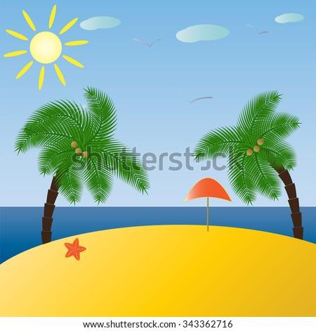 Tropical landscape . Sea, sun , beach and palms. vector illustration - stock vector
