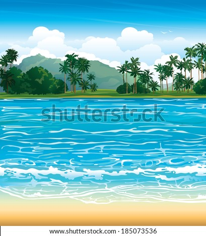 Tropical landscape with blue sea and palms. Nature vector. - stock vector