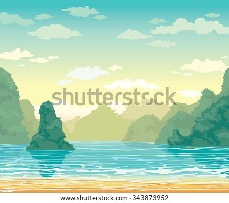 Tropical landscape with limestone rocks and sea bay on a cloudy sky. Nature vector illustration.  - stock vector