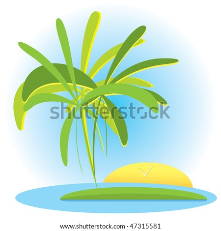 Tropical landscape with palms and sunset(vector, CMYK)