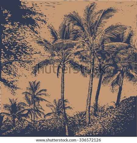 tropical landscape with palms trees.  linocut style. vector illustration. - stock vector