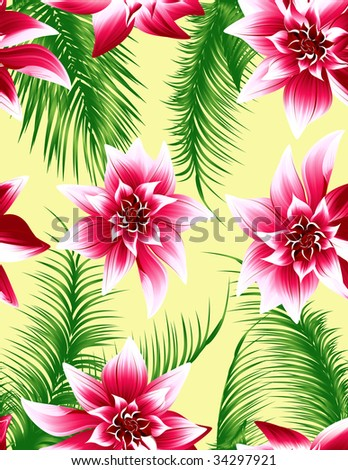 Tropical leaf seamless background, vector illustration, EPS  file included - stock vector