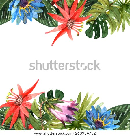 Tropical leaves and exotic flowers branches watercolor border vector illustration - stock vector