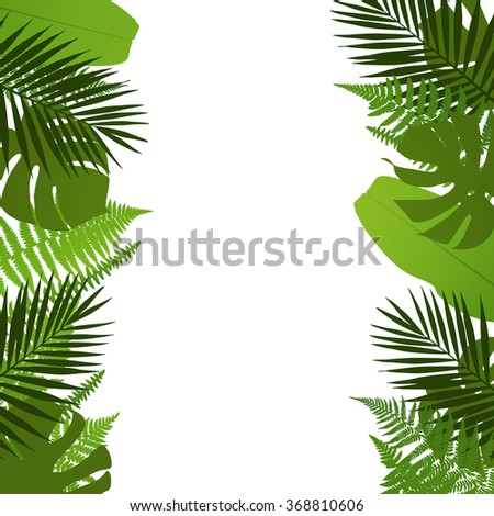 Tropical leaves background with palm,fern,monstera and banana leaves. Vector illustration - stock vector