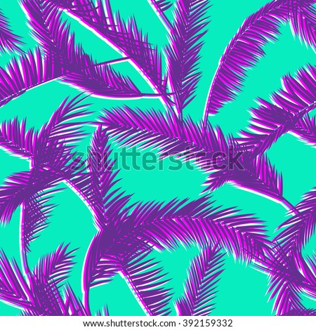 Tropical leaves, dense jungle. Seamless botanical pattern. Vector background. - stock vector