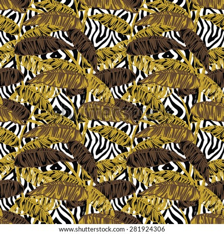 Tropical leaves on animal pattern. Seamless, hand painted. Vector background.
