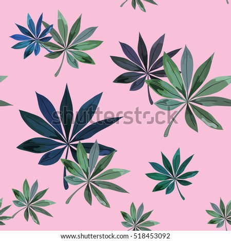 Tropical leaves pattern.Seamless vector floral pattern with tropical leaves.