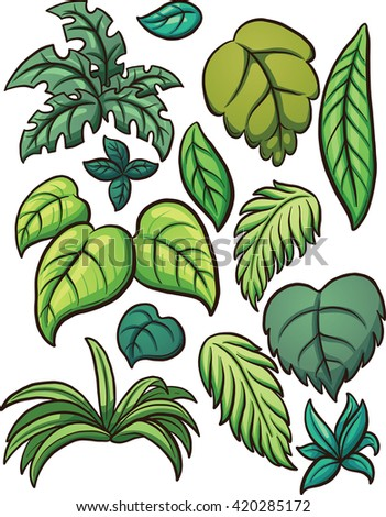 Tropical leaves. Vector clip art illustration with simple gradients. Each on a separate layer. - stock vector