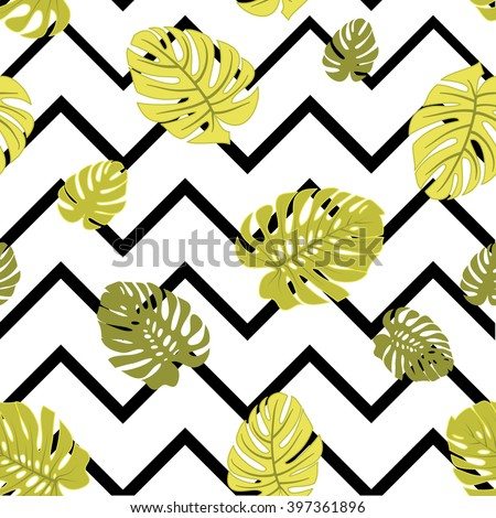 tropical monstera leaves seamless background - stock vector