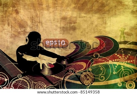 tropical music party dj background with swirl floral design. - stock vector