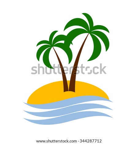 Tropical palm icon on island with sea. Vector illustration - stock vector