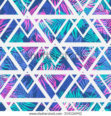 Tropical palm leaf pattern with geometric background.Vector fashion seamless creative art print for design . Neon colored jungle wallpaper. - stock vector