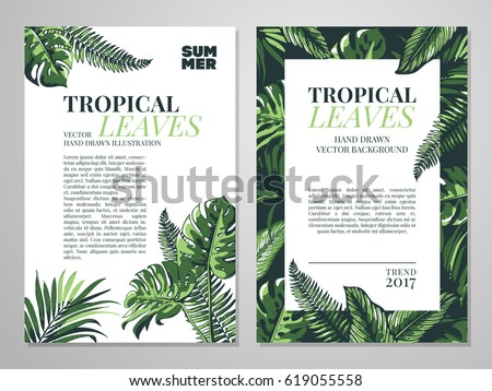 Tropical palm leaves background invitation card stock vector hd tropical palm leaves background invitation card stock vector hd royalty free 619055558 shutterstock stopboris Images