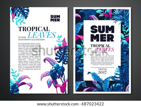 Tropical palm leaves background invitation card stock photo photo tropical palm leaves background invitation or card design with jungle leaves vector illustration in stopboris Images