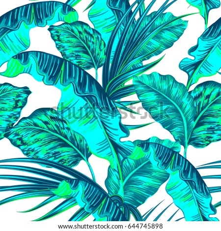Tropical Palm Leaves Jungle Leaf Seamless Vector Summer Floral Pattern Background Fashion Print