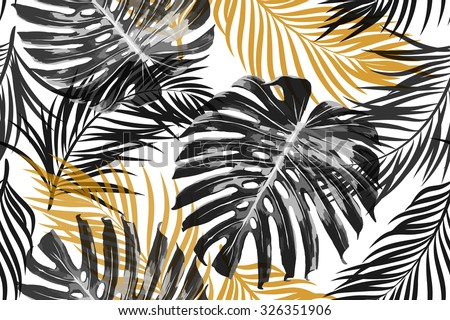 Tropical palm leaves, jungle leaves. Beautiful seamless vector fashionable chic abstract tropical floral pattern background - stock vector