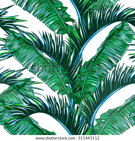 Tropical palm leaves, tree seamless vector jungle floral pattern background, wallpaper - stock vector