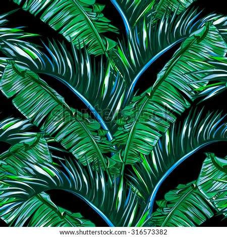 Tropical Palm Leaves Tree Seamless Vector Jungle Floral Pattern Background Wallpaper