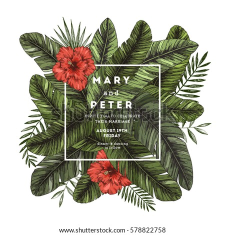 Tropical palm leaves wedding invitation template stock vector tropical palm leaves wedding invitation template stock vector 578822758 shutterstock stopboris Images