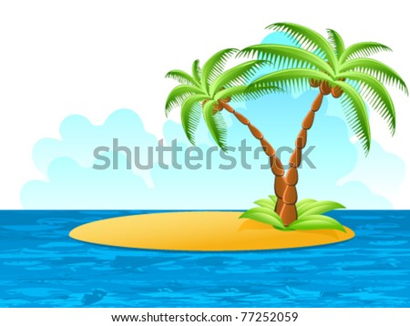 tropical palm on island - vector illustration