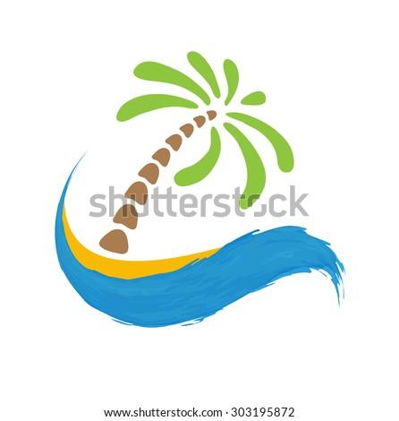 Tropical palm on island with sea. Vector logo illustration. - stock vector