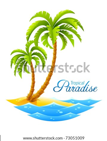 tropical palm on island with sea waves vector illustration isolated white background - stock vector