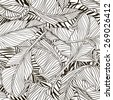 Tropical palm trees and banana leaves. Abstract background seamless pattern. Black and white. - stock vector