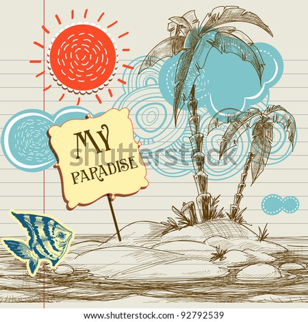 Tropical paradise background, sea holiday flyer vector illustration - stock vector