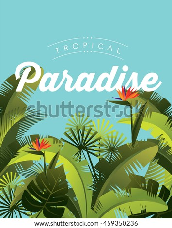 tropical paradise template vector/illustration
